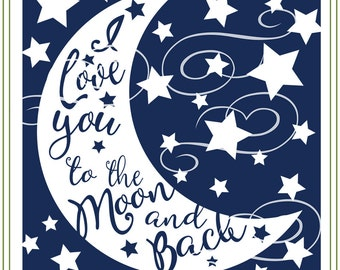 Love You to the Moon and Back glass block svg, glass block design, iron on transfer, wall art, vinyl cutting, craft supply