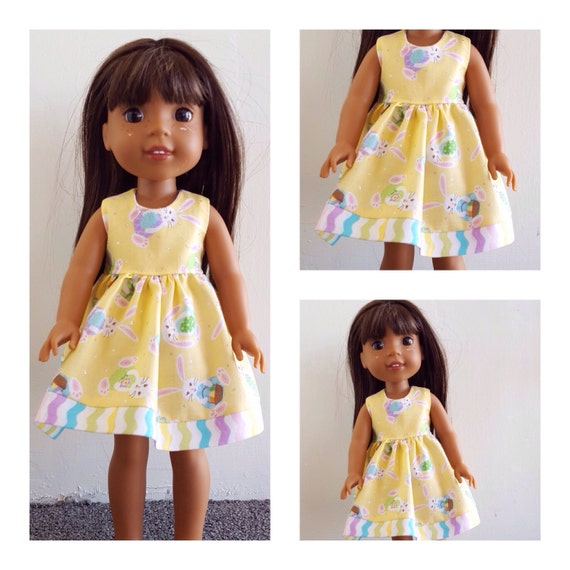 AG and WW Bunny Easter 14.5 Doll Dress Wellie Wisher or 18 inch American Girl