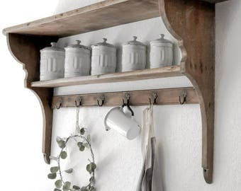 Vintage French Wall Shelf/ Pot Rack