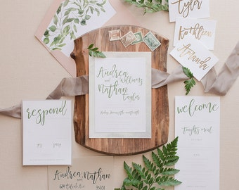 Greenery Wedding Invitation Suite Invite Natural Organic Watercolor Watercolour