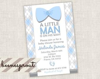 Little Man Suspender Bow Tie Boy Baby Shower Invitation