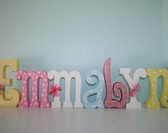 Girl decor, Wooden letters, White polka dots, 7 letter set, Girls room, Girl nursery, Kids room decor, Nursery letters, Hanging letters