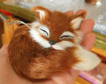 Handmade Sleeping Red Fox Ornament Faux-Fur Woodland Fox, made in USA, 3.5 inch wide