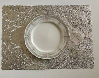 """100+Silver Lace Doily Paper Placemats~10"""" by 14""""~Quantities of 100/110/120/130/135/140/150~Silver Doily Paper Placemats~Wedding Invite Trim"""