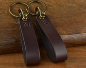 QUICK SHIP **Item ships in 1-2 Business Days - Personalized Leather Keychain - 2x Embossed Initial Keychains handcrafted from Bridle Leather