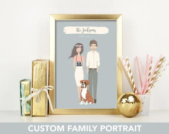 custom portrait, custom family portrait, personalized portrait, personalized family portrait, Custom couple, custom wedding gift,