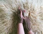 OOAK Naturally Dyed Fingerless Gloves | Handwarmers | Knit Gloves | Ribbed Gloves