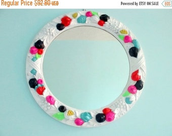 1-DAY SALE Bright Mirror - Painted Vintage Ornate Wall Mirror - White with Navy and Neon Accents - Large round hanging