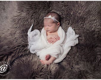 White Premium Cheesecloth Baby Wrap Photo Prop for Baby Boy or Girl Spring Summer Fall Winter Pure White Newborn Swaddle Wrap