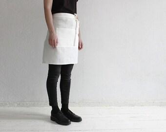 Off white linen apron, Half apron, Waist apron, Off white apron, Kitchen apron, Short apron for cook, Soft linen aprons, Apron