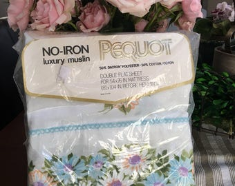 Vintage Double Flat Bed Sheet - Daisy  Trimmed - NOS