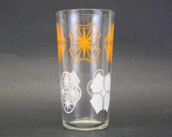 Vintage Peanut Butter Glass w/Orange & White Geometric Pattern (E2846)