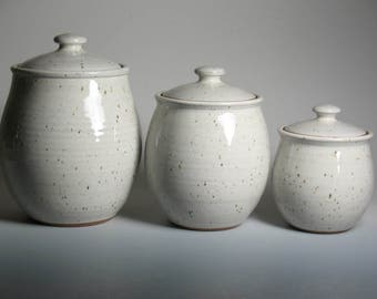 3 piece canister set in white, pottery, stoneware