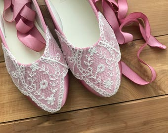 SALE Wedding shoes rose bridal ballet flats embellished ivory vintage lace and ankle tie strap removable ribbons - Ready to Ship Size 8.5