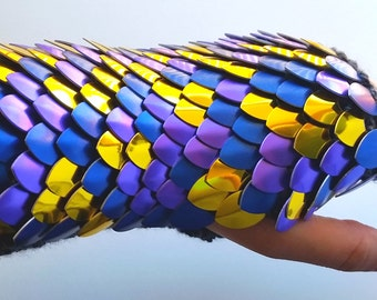 Yellow Blue Purple Hand Knit Scalemail Gauntlets Gift Ready to Ship