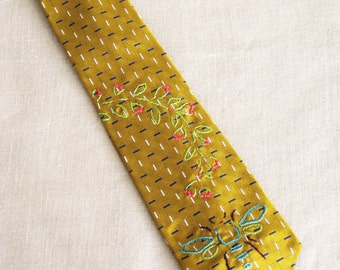 Mens Ties, Neck Tie, Bees, Hand Embroidered, Neckties, Bumble Bees, Up-cycled, Yellow Silk,Vintage Ties, Handmade, Wil Shepherd Studio,Ties