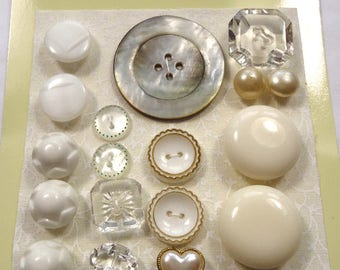 Vintage cream/white  buttons - plastic, glass, mother of pearl (Ref C95)