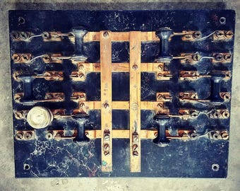 Scarce open subway switch board with six knife switches antique NYC
