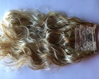 Platinum Blonde Wavy Curly Pony Tail Hair Extension Clip Comb and Snap Mounted Fall Extra Long Brown Auburn Black Also Available 20-22 inch