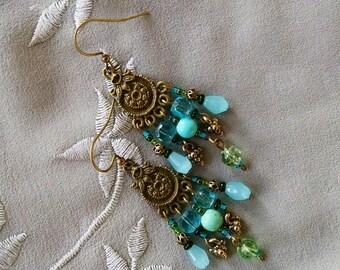 Turquoise chandelier earrings, Bohemian gypsy Antique Gold chandelier turquoise  earrings