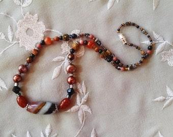 Beaded necklace, Earthtone gemstone beaded necklace