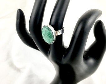 Handmade Modernist Norwegian Amazonite Natural Gemstone Sterling Ring