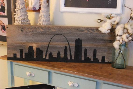 Reclaimed Wood St. Louis Skyline Black - Reclaimed Wood St Louis WB Designs