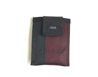 Minimalist Wallet in Oxblood and Black - Front Pocket Wallet - Vegan Seatbelt Wallet - Small Credit Card Holder