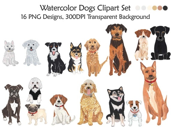 Watercolor Dogs Clipart Set Dogs Clip Art Pet Watercolor
