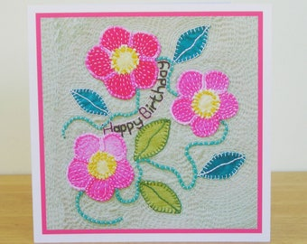 Pink Rose Birthday Card, Wild Flower Card, Recycled Card, Art Card, Female Birthday Card