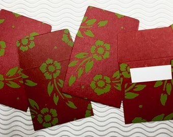 6 teeny tiny envelopes red green handmade papers miniature note sets square stationery party favors weddings guest book table numbers