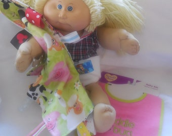 Cloth doll diaper bib and blanket lot for bitty baby baby alive cabbage patch doll stuffed animals many more