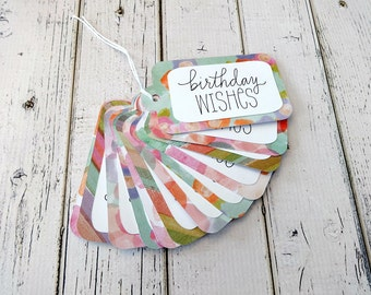 Gift Tags, Gift Tag Set, Assorted Tags, Party Tags, Paper Tags, Birthday Gift Tags, Hanging Tags, Set of 12 Large Gift Tags, Birthday Wishes