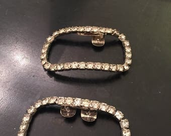 Set of two rhinestone curved rectangle shoe / dress clips