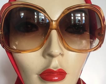 1970s Oversized Amber with Burgundy Sunglasses DEADSTOCK