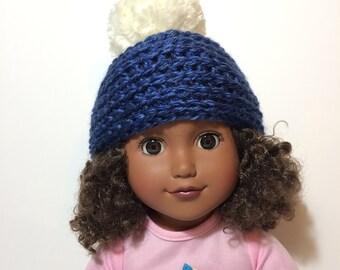 """Beanie Hat with Pompom, 18"""" doll"""