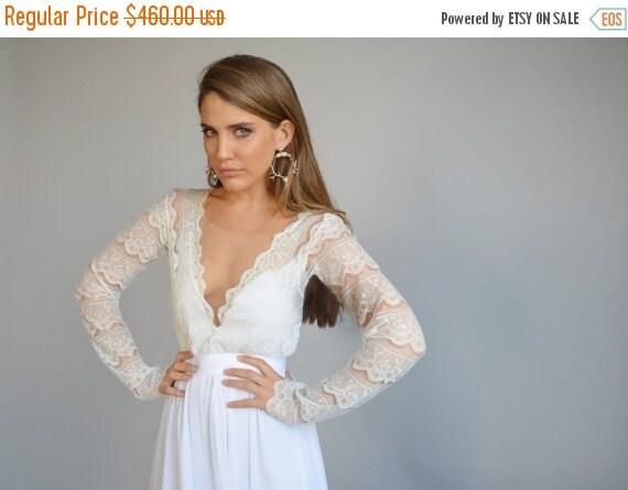 Cyber monday sale lace wedding dress long sleeves by barzelai for Cyber monday wedding dresses