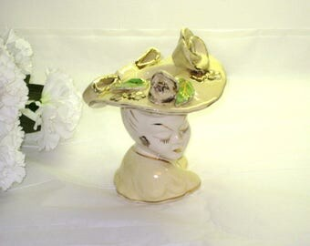 "1940s Glamour Girl Head Vase With Yellow Hat, Roses & Gold Trim / Japan / 5 1/2"" Tall / Pin Up Girl Head Vase"