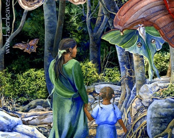 Dusky Wings - Matted Digital Print of Mother & Child with Moths Watercolor - 11x14 inches