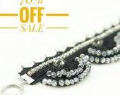 70% OFF Bracelet- Handmade Bohemian Crochet Rhinestone Crystal Beadwork Beaded Luxury Statement Wide Cuff Bracelet, Fiber Fabric Jewelry