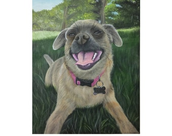custom pet portrait from photo hand painted dog painting on canvas art