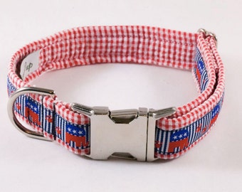 Preppy Gingham Repuplican Dog Collar, Republican Dog Collar, Conservative Dog Collar, Conservative Elephant Dog Collar,
