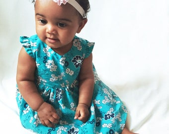 Baby girl dress, turquoise, floral, spring summer babydress ditsy floral, lined bodice and gathered skirt, cute buttons, more sizes