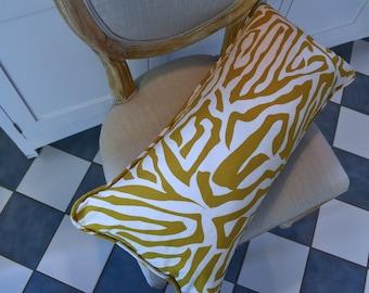 Home Decor Accent Gold Zebra Print Lumbar Pillow Throw Pillow