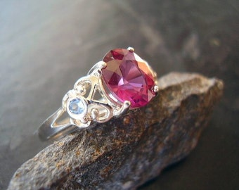 Pink Fairy - Genuine Pink Rhodolite Garnet & Tanzanite Engagement Ring Solid 925 Sterling Silver January Birthstone Anniversary Gift For Her