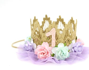 First Birthday|| gold + pink + aqua + lavender flowers || lavender tulle || ballerina flower lace crown headband || Sienna ||custom age