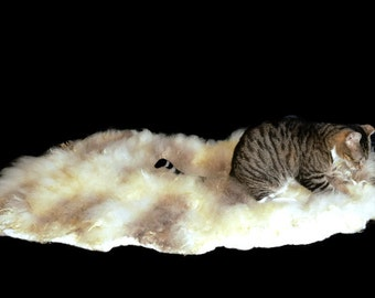 Cruelty Free, Jacob, Cat Bed, Pet Bed, Dog Mat, Rustic Decor, Felted Wool Fleece, Ethical Sheepskin, Natural Cat Bed, Throw Rug