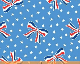 Fabric by the Yard-StoryBook Americana- Bows in Blue-- from Windham