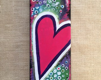"Original Canvas Painting by Susie Carranza: ""Bright Love"". Dark pink heart on colorful background. 12 by 4 inches. Perfect Valentine gift."