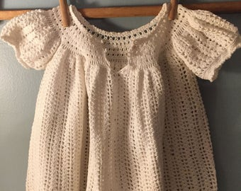 Estate sale find! Vintage antique baby dress hand crocheted cotton thread so precious! Change look with ribbon woven in! Perfect easter!